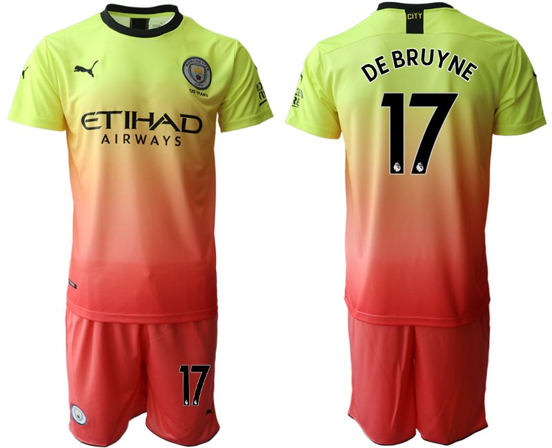 Men 2019-2020 club Manchester City away 17 yellow Soccer Jerseys