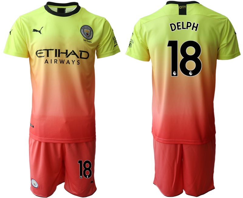 Men 2019-2020 club Manchester City away 18 yellow Soccer Jerseys
