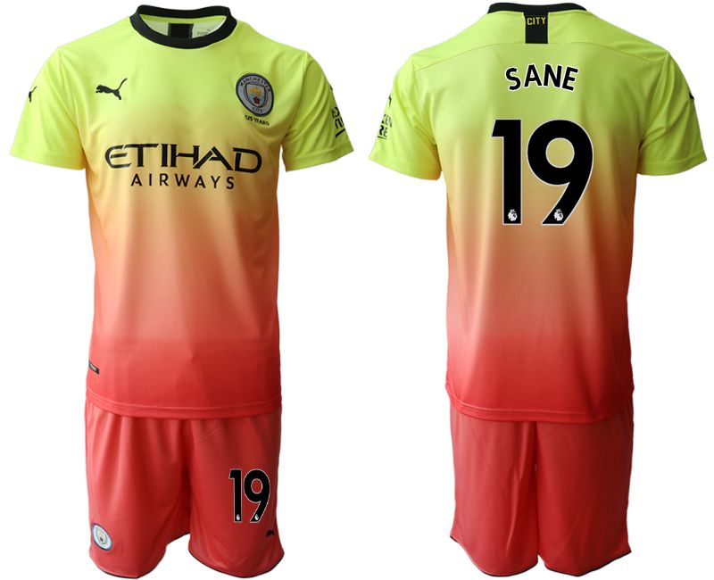Men 2019-2020 club Manchester City away 19 yellow Soccer Jerseys