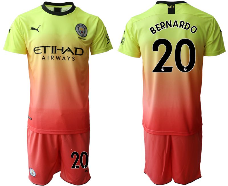 Men 2019-2020 club Manchester City away 20 yellow Soccer Jerseys