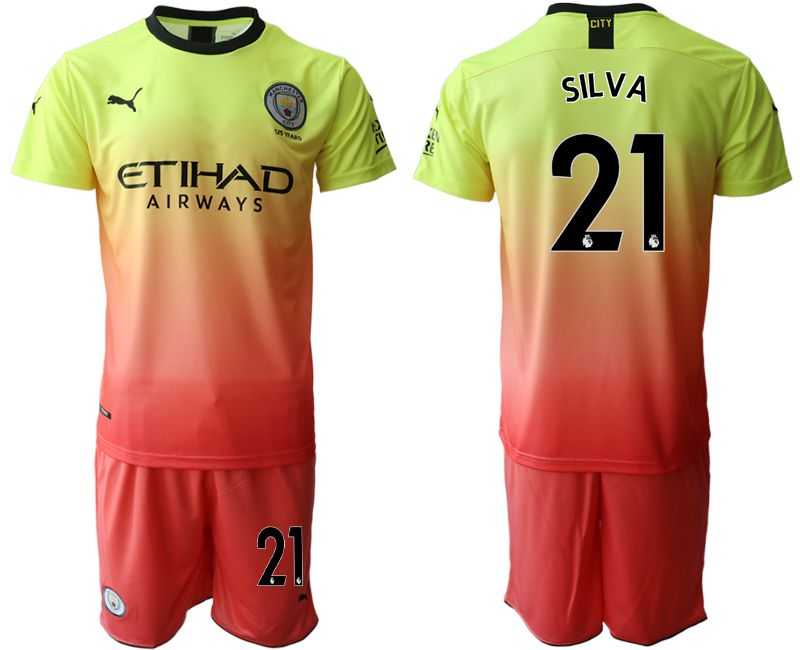 Men 2019-2020 club Manchester City away 21 yellow Soccer Jerseys