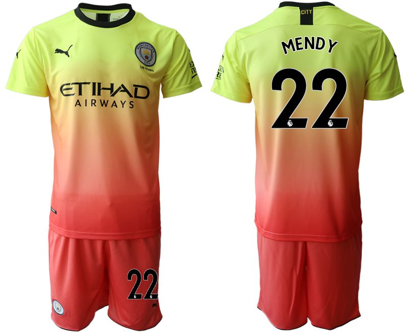 Men 2019-2020 club Manchester City away 22 yellow Soccer Jerseys