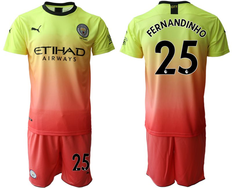 Men 2019-2020 club Manchester City away 25 yellow Soccer Jerseys