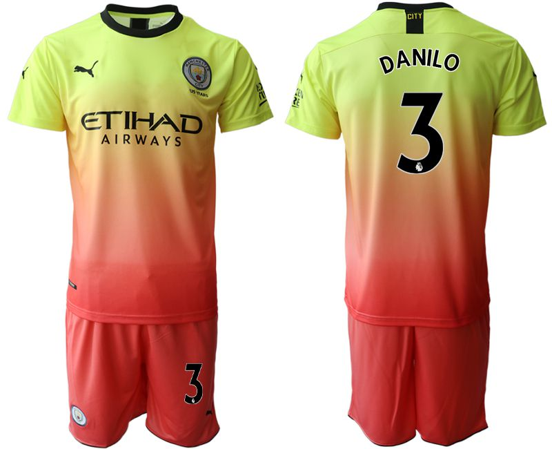 Men 2019-2020 club Manchester City away 3 yellow Soccer Jerseys