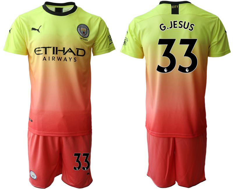 Men 2019-2020 club Manchester City away 33 yellow Soccer Jerseys