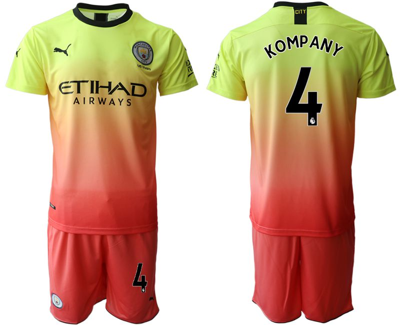 Men 2019-2020 club Manchester City away 4 yellow Soccer Jerseys