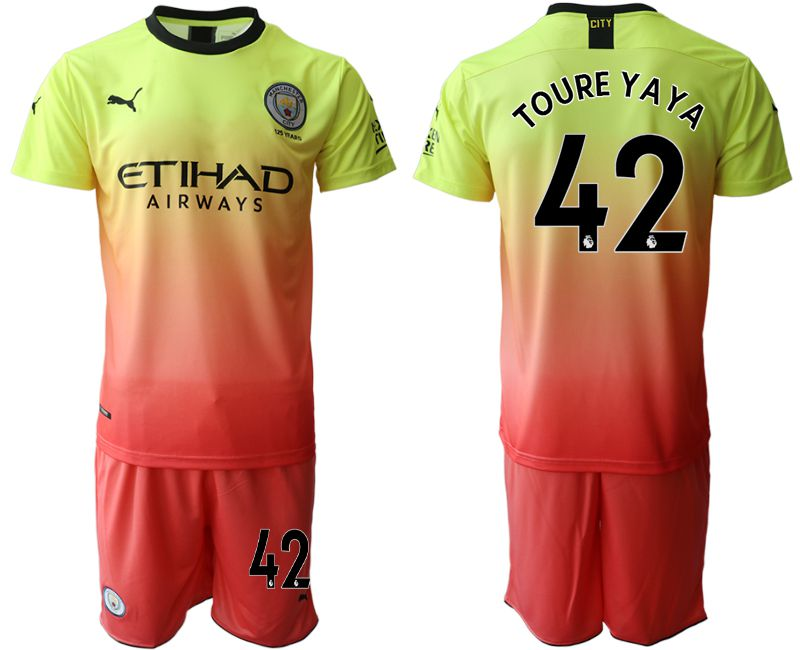 Men 2019-2020 club Manchester City away 42 yellow Soccer Jerseys