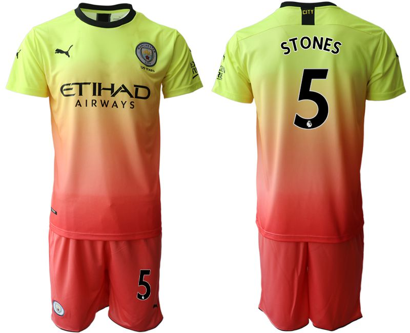 Men 2019-2020 club Manchester City away 5 yellow Soccer Jerseys