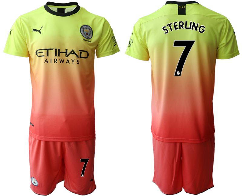 Men 2019-2020 club Manchester City away 7 yellow Soccer Jerseys
