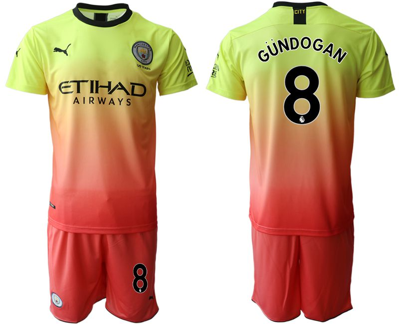 Men 2019-2020 club Manchester City away 8 yellow Soccer Jerseys