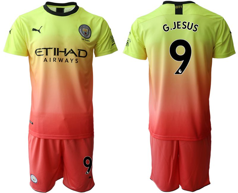 Men 2019-2020 club Manchester City away 9 yellow Soccer Jerseys