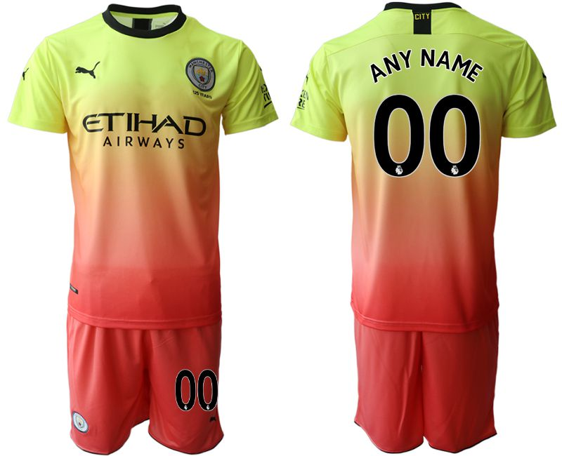 Men 2019-2020 club Manchester City away customized yellow Soccer Jerseys