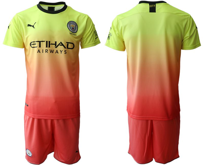 Men 2019-2020 club Manchester City away yellow Soccer Jerseys