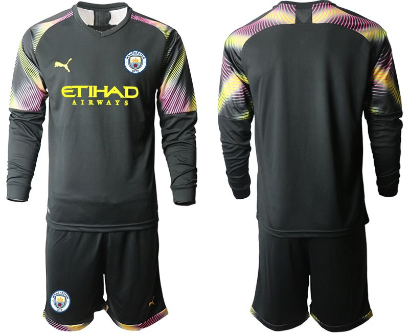 Men 2019-2020 club Manchester City black goalkeeper Long sleeve Soccer Jerseys