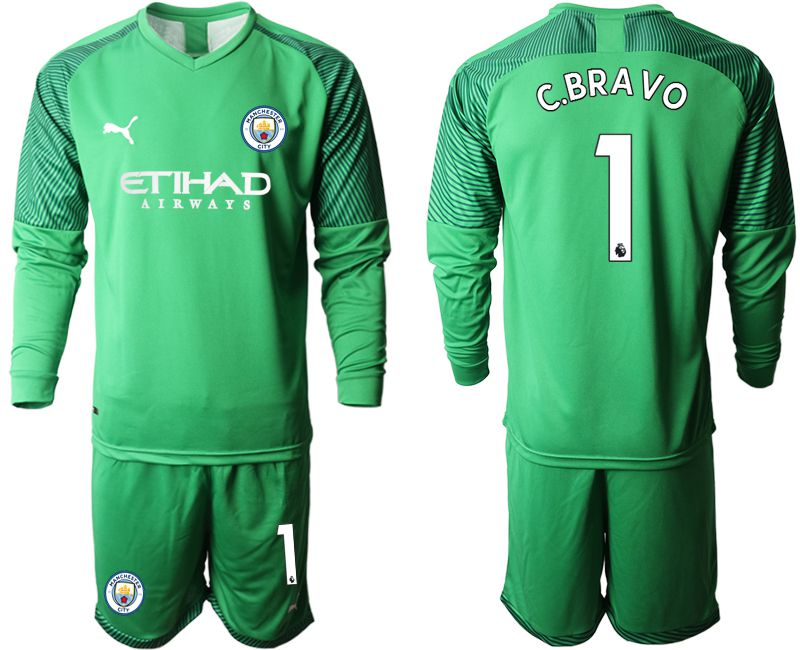 Men 2019-2020 club Manchester City green goalkeeper long sleeve 1 Soccer Jerseys