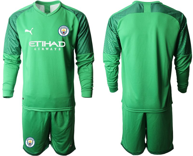 Men 2019-2020 club Manchester City green goalkeeper long sleeve Soccer Jerseys