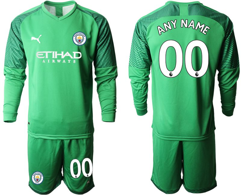 Men 2019-2020 club Manchester City green goalkeeper long sleeve customized Soccer Jerseys