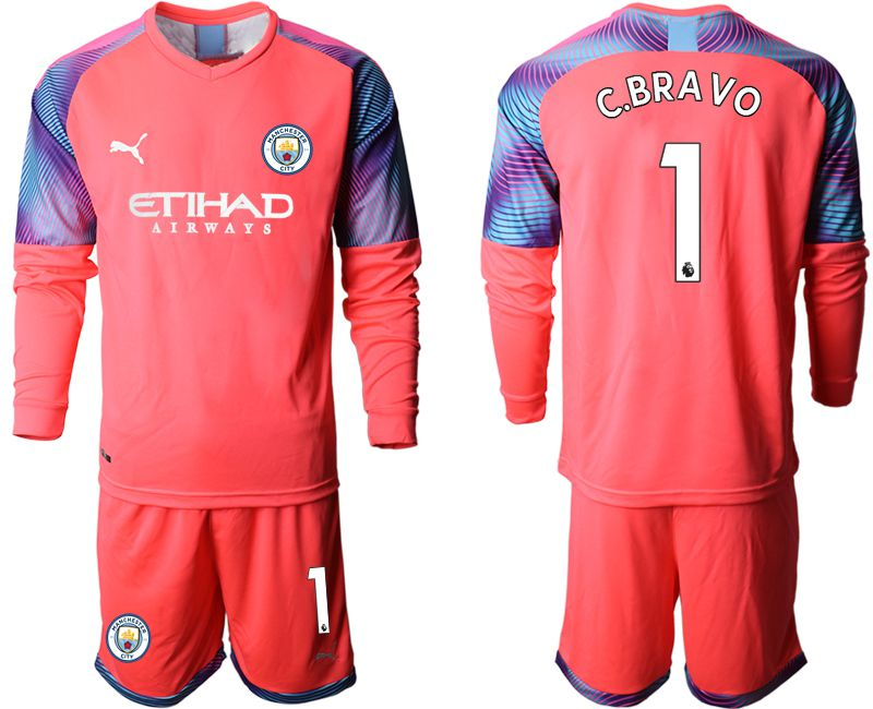 Men 2019-2020 club Manchester City pink goalkeeper long sleeve 1 Soccer Jerseys