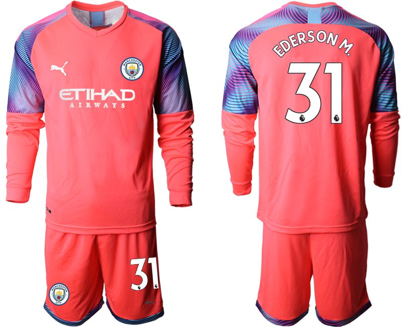 Men 2019-2020 club Manchester City pink goalkeeper long sleeve 31 Soccer Jerseys