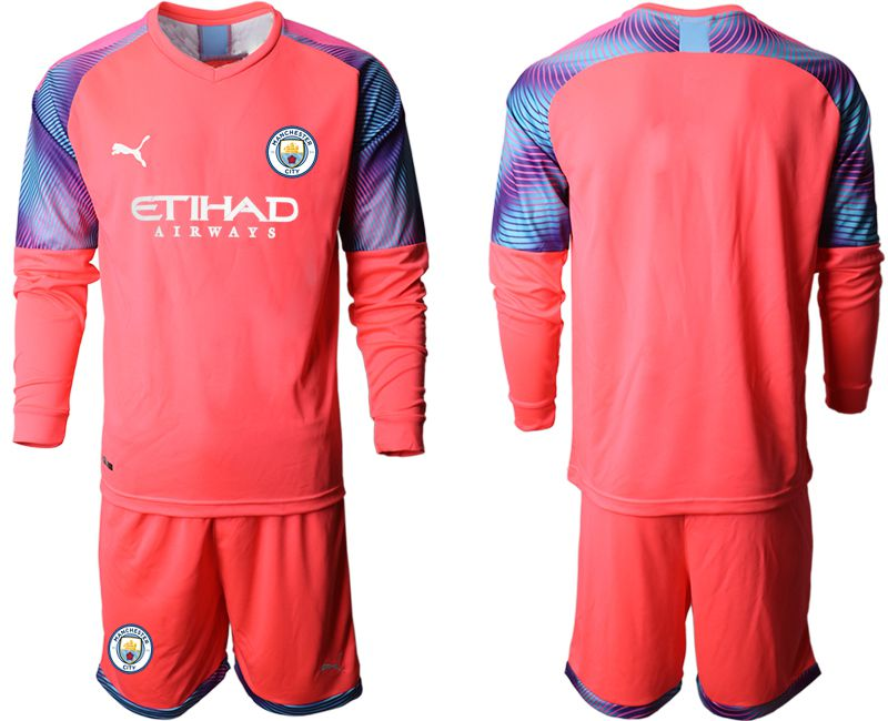 Men 2019-2020 club Manchester City pink goalkeeper long sleeve Soccer Jerseys