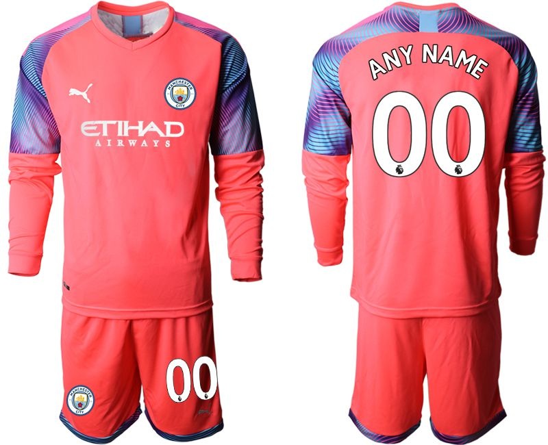 Men 2019-2020 club Manchester City pink goalkeeper long sleeve customized Soccer Jerseys