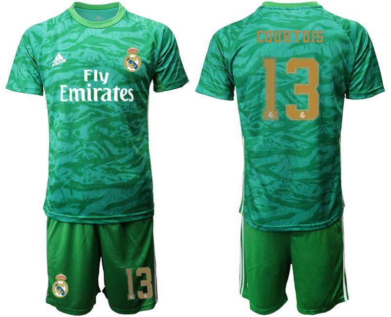 Men 2019-2020 club Real Madrid green goalkeeper 13 Soccer Jerseys