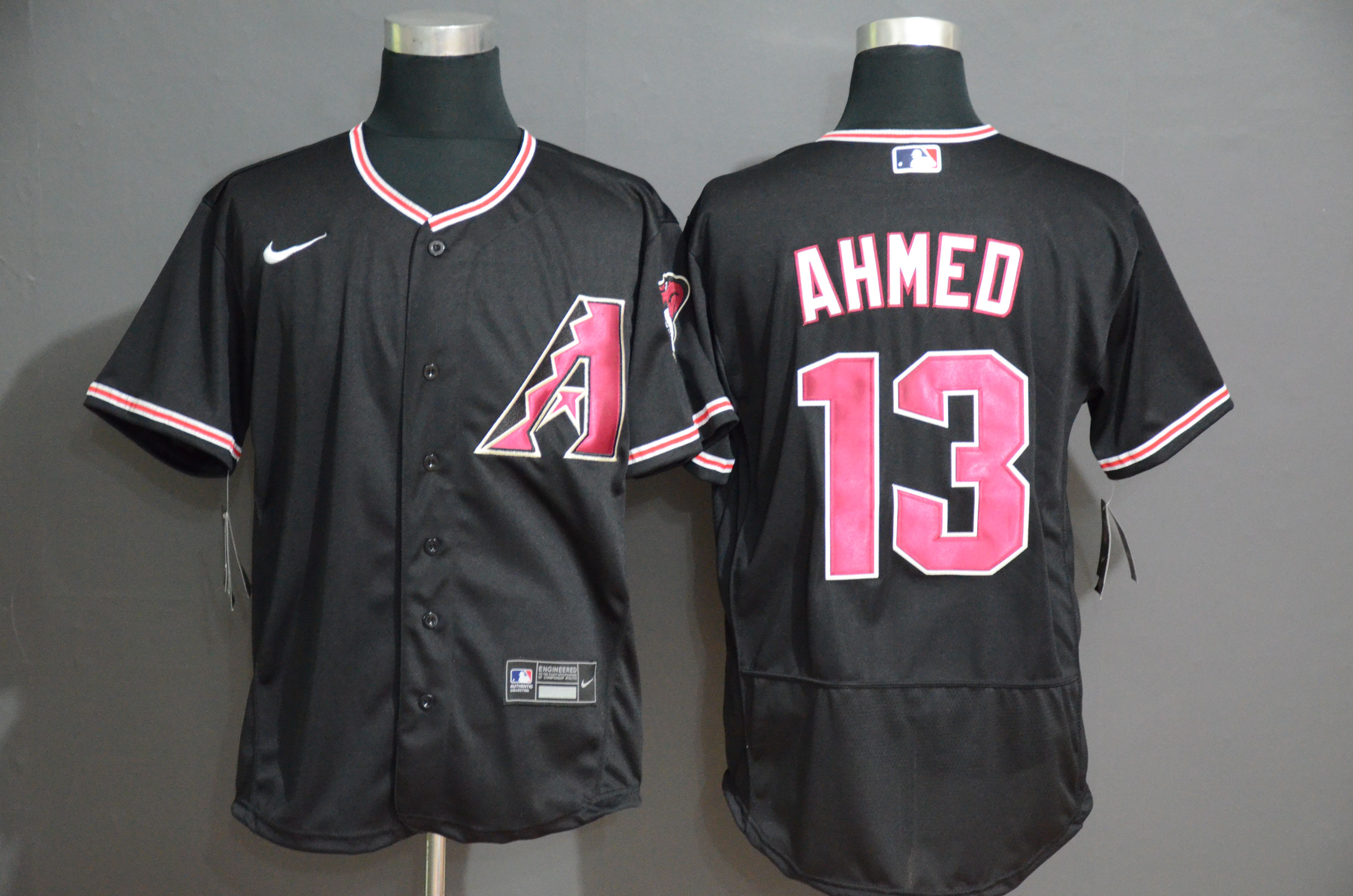 Men Arizona Diamondback 13 Ahmed Black Nike Elite MLB Jerseys