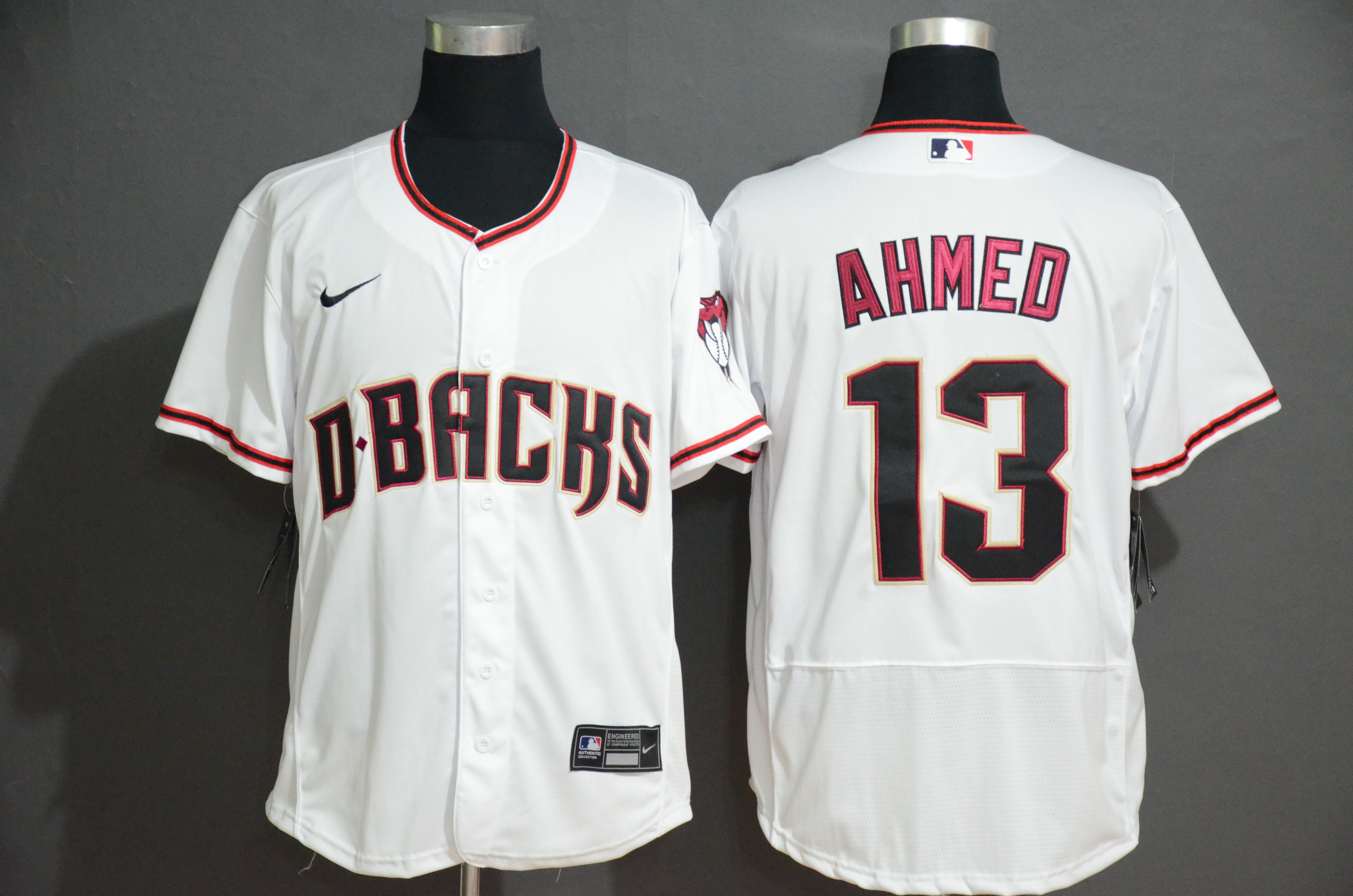 Men Arizona Diamondback 13 Ahmed White Nike Elite MLB Jerseys