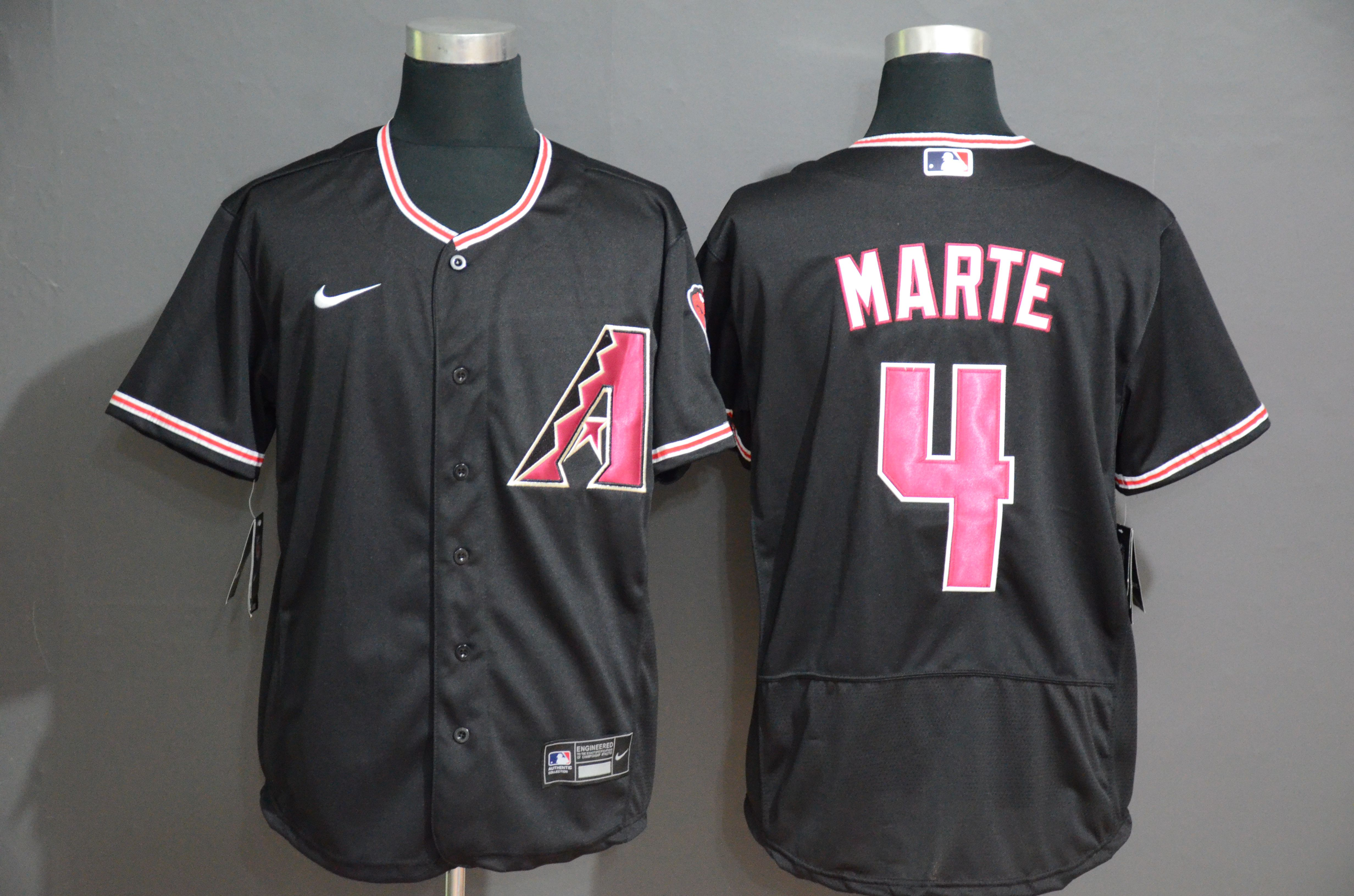 Men Arizona Diamondback 4 Marte Black Nike Elite MLB Jerseys