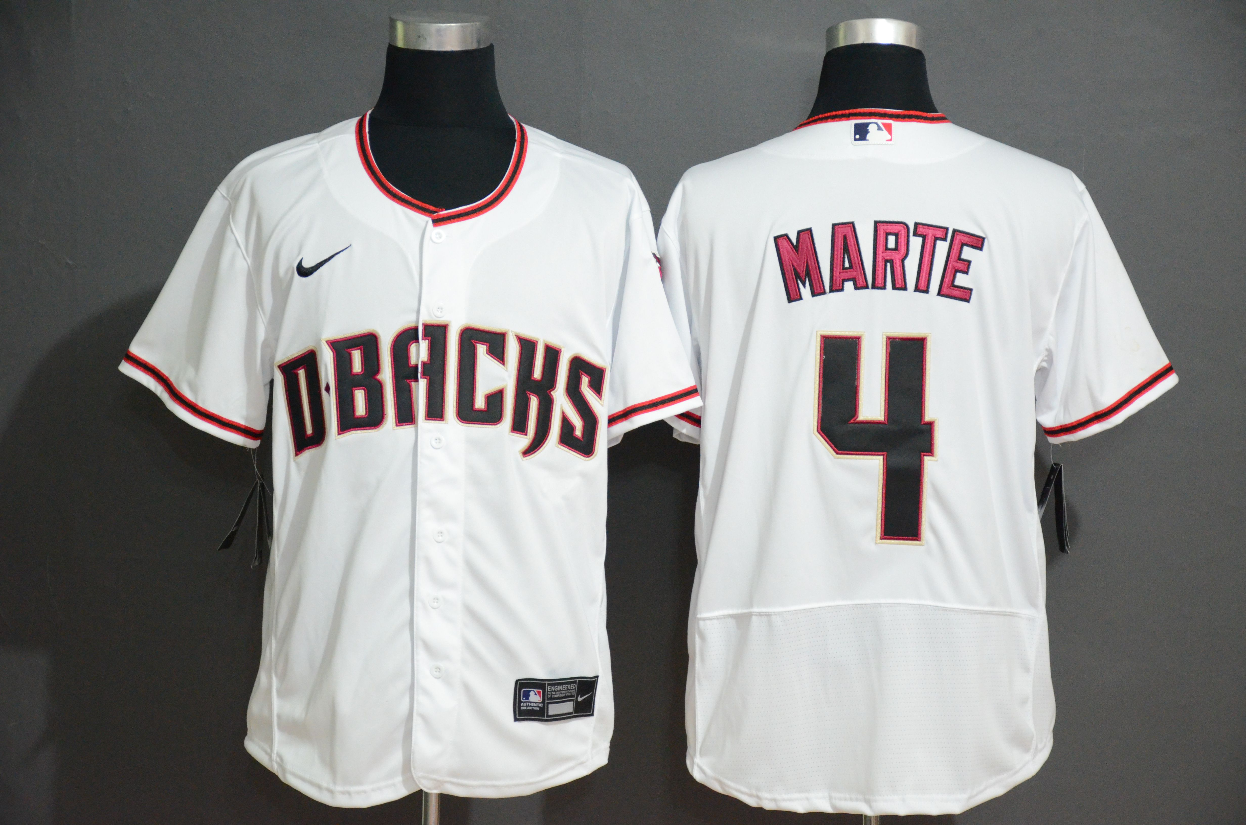 Men Arizona Diamondback 4 Marte White Nike Elite MLB Jerseys