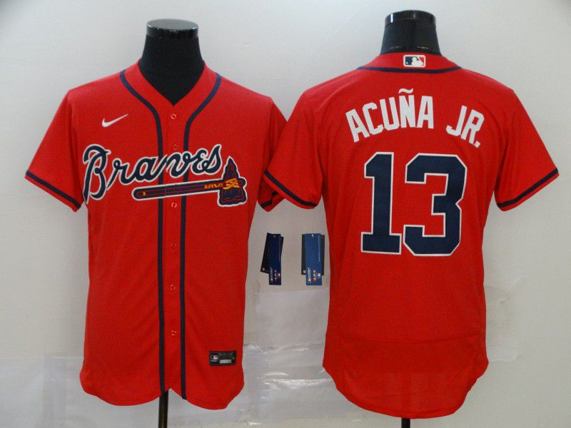 Men Atlanta Braves 13 Acuna jr Red Nike Elite MLB Jerseys
