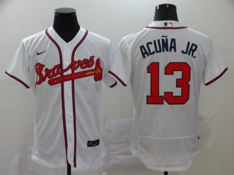 Men Atlanta Braves 13 Acuna jr White Elite Nike Elite MLB Jerseys