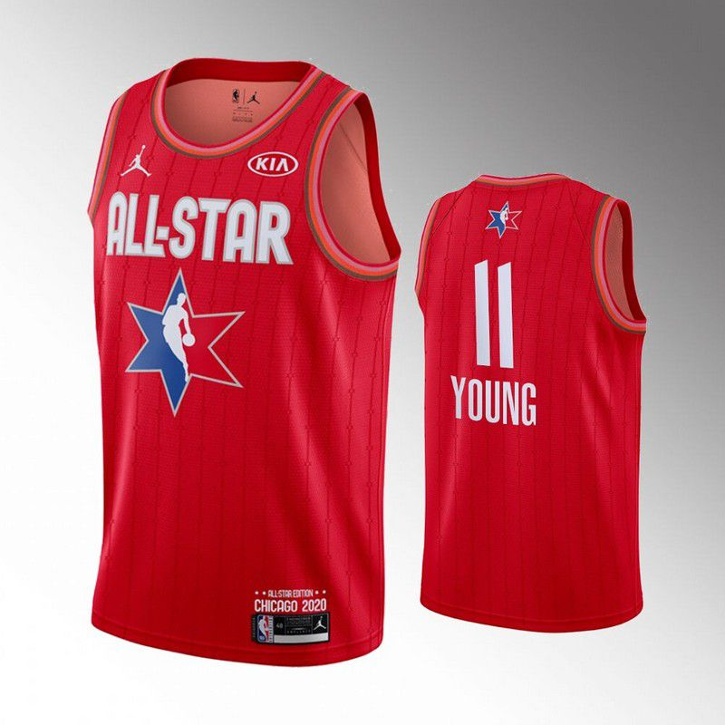 Men Atlanta Hawks 11 Young Red 2020 All Star NBA Jerseys