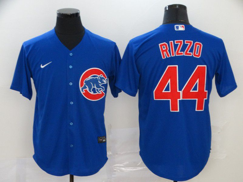 Men Chicago Cubs 44 Rizzo Blue Game Nike MLB Jerseys
