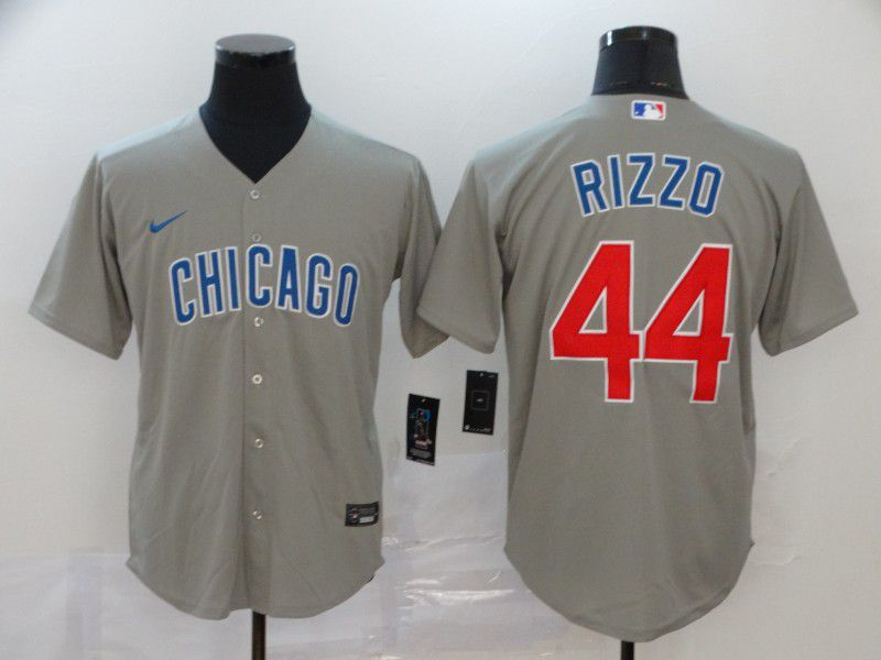 Men Chicago Cubs 44 Rizzo Grey Game Nike MLB Jerseys