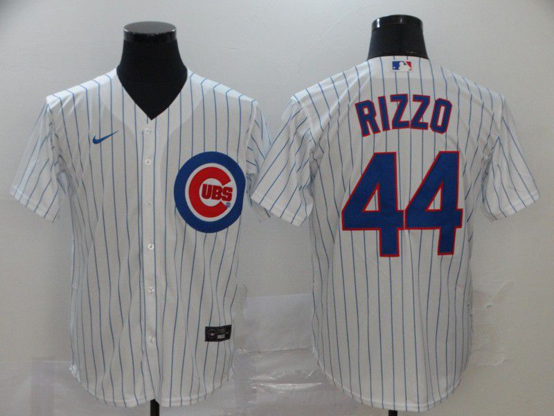 Men Chicago Cubs 44 Rizzo White stripes Nike Game MLB Jerseys