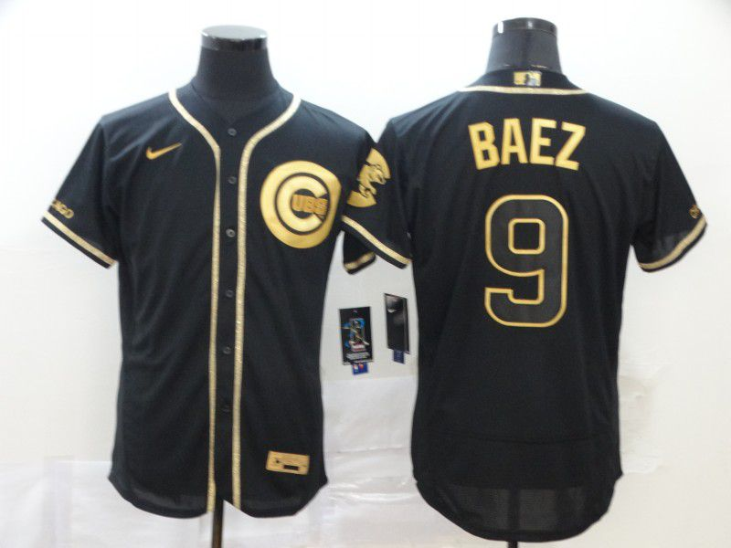 Men Chicago Cubs 9 Baez Black Retro gold character Nike MLB Jerseys