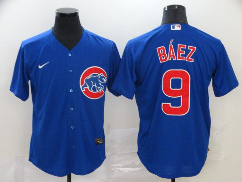 Men Chicago Cubs 9 Baez Blue Nike Game MLB Jerseys