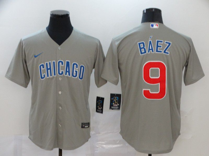Men Chicago Cubs 9 Baez Grey Game Nike MLB Jerseys