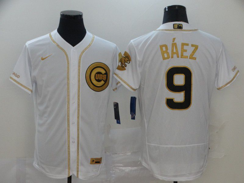 Men Chicago Cubs 9 Baez White Retro gold character Nike MLB Jerseys