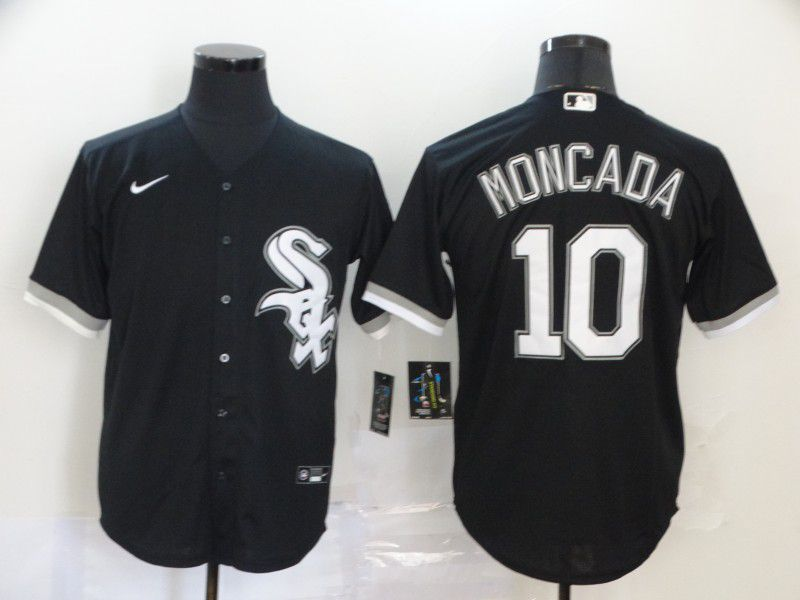 Men Chicago White Sox 10 Moncada Black Game Nike MLB Jerseys