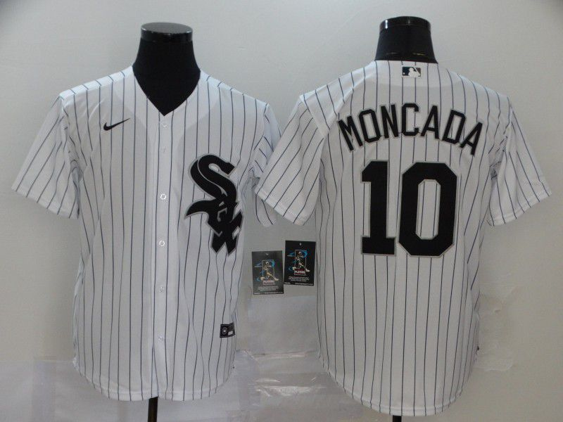 Men Chicago White Sox 10 Moncada White Game Nike MLB Jerseys