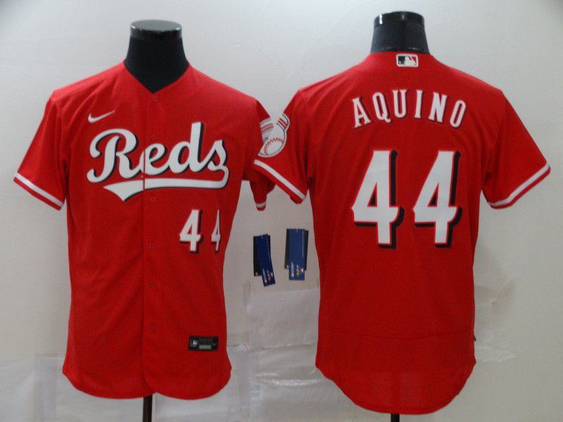 Men Cincinnati Reds 44 Aquino Red Nike Elite MLB Jerseys