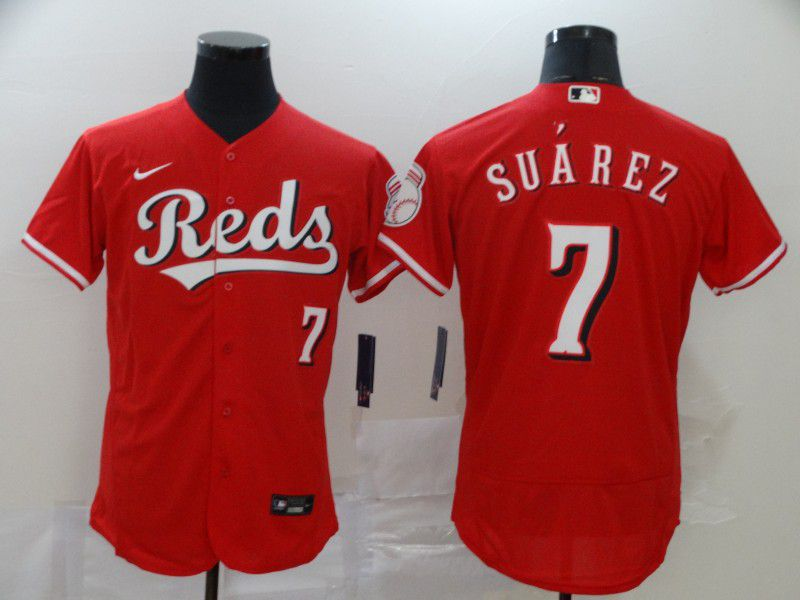 Men Cincinnati Reds 7 Suarez Red Nike Elite MLB Jerseys