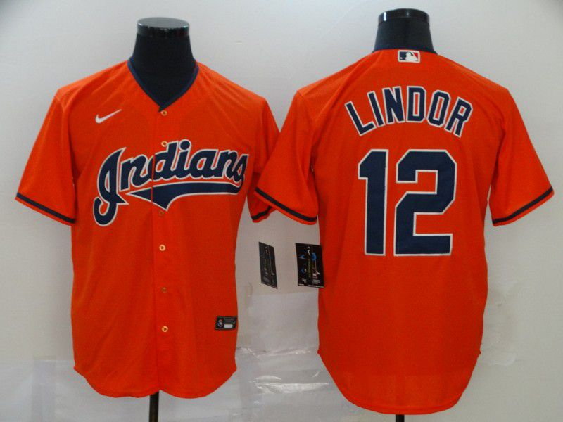 Men Cleveland Indians 12 Lindor Orange Nike Game MLB Jerseys