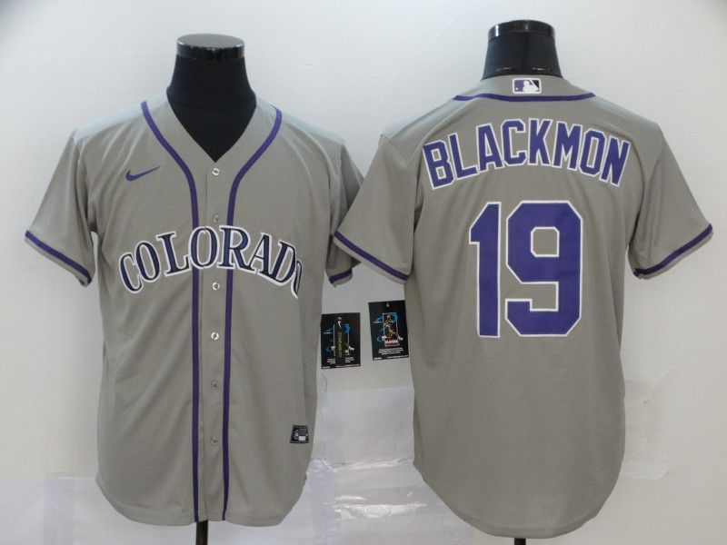 Men Colorado Rockies 19 Blackmon Grey Nike Game MLB Jerseys