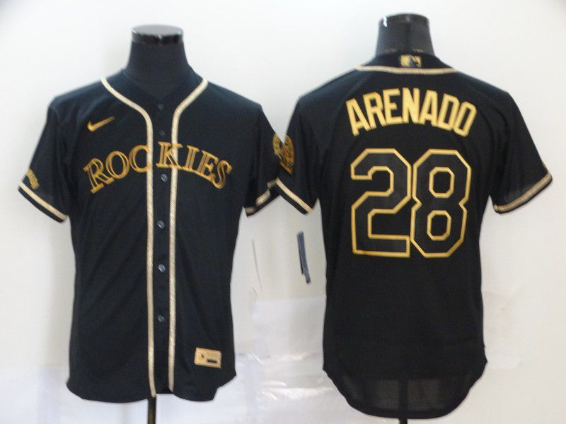 Men Colorado Rockies 28 Arenado Black Nike Elite MLB Jerseys