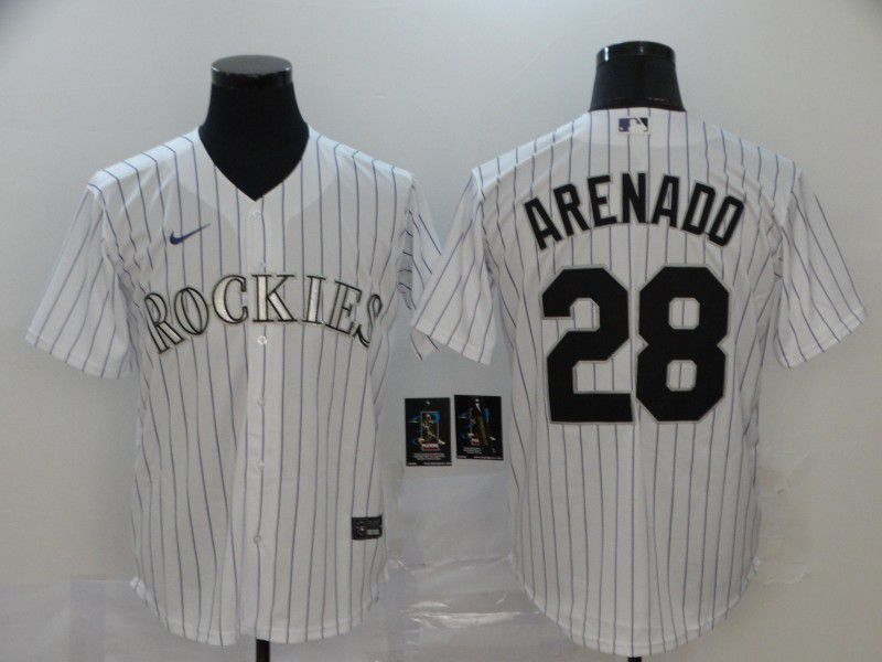 Men Colorado Rockies 28 Arenado White stripes Nike Game MLB Jerseys