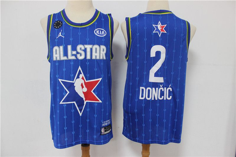 Men Dallas Mavericks 2 Doncic Blue 2020 All Star NBA Jerseys