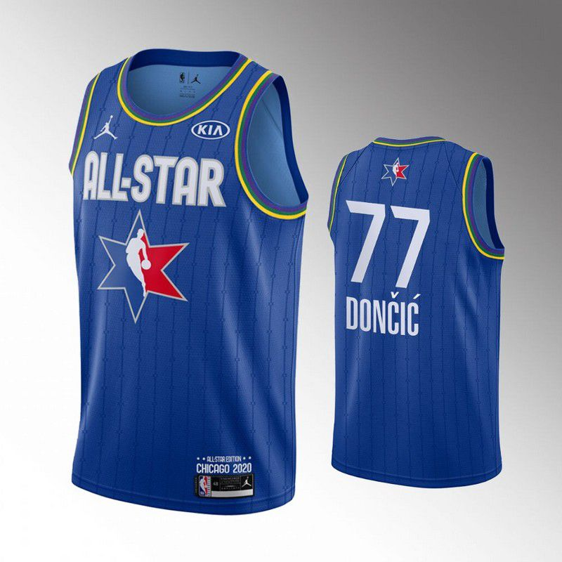 Men Dallas Mavericks 77 Doncic Blue 2020 All Star NBA Jerseys